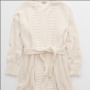 Aerie chenille cream knit belted cardigan